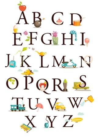 Cute cartoon alphabet Stock Vector - 6294209