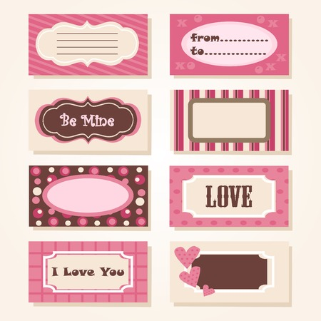 A set of colorful Valentine tags  Vector