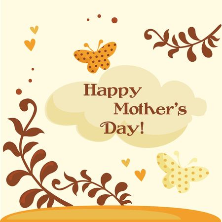 mothers day background: Felice illustrazione Mothers Day Card