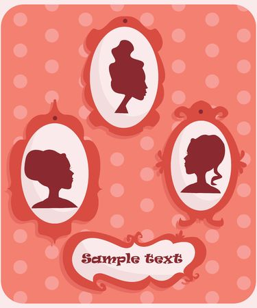 Woman portraits silhouette with place for your text, illustration Vector