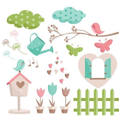 �rboles con pajaros: Ilustraci�n de elementos de primavera retro Vectores