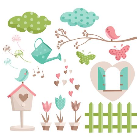bird icon: Retro spring elements  illustration Illustration
