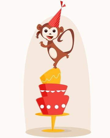 Dancing monkey birthday card illustration