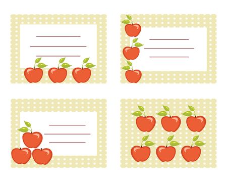 conserved: Fruit labels with apples illustration