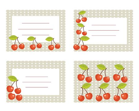 Fruit labels with cherry illustration Vector