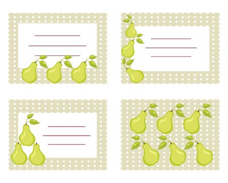 Fruit labels with pears illustration Stock Vector - 6673699