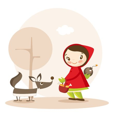 hungry kid: Little Red Riding Hood funny cartoon illustration Illustration