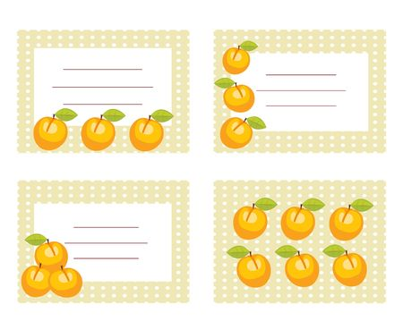 Fruit labels with peaches illustration