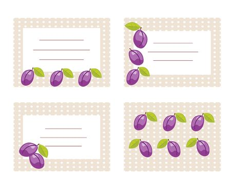 Fruit labels with plums illustration Vector