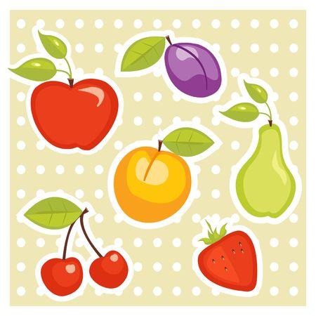 Fruit stickers illustration Vetores