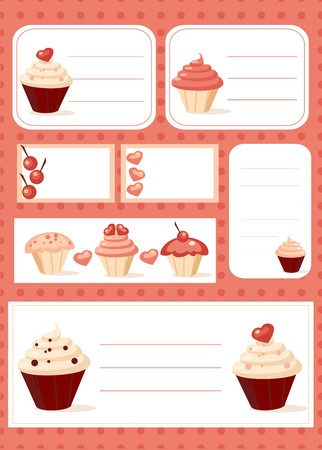 Cupcake labels,  illustration Vector