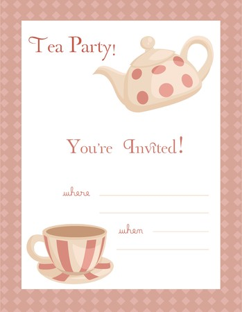 coffee pot: Tea party invitation, with place for your text Illustration