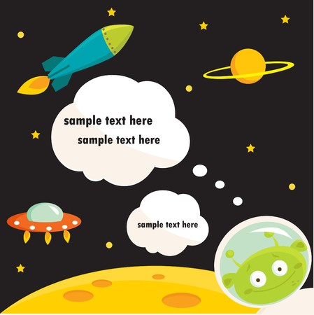 In space party invitation with place for your text
