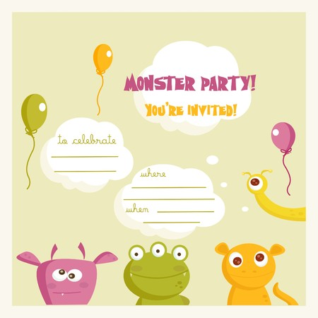 pattern monster: Monster party invitation, with place for your text