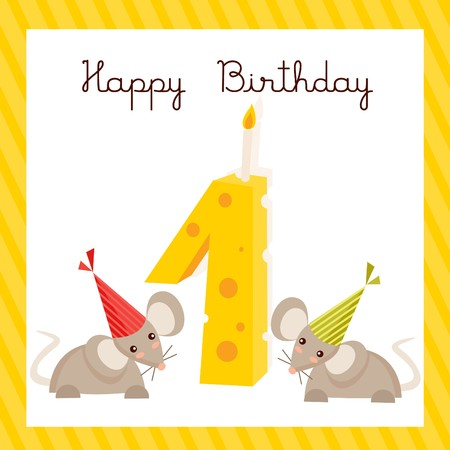 Happy First Birthday Card Vectror Illustration Royalty Free