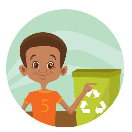 environmental issues: Kid using recycling bin,  illustration Illustration