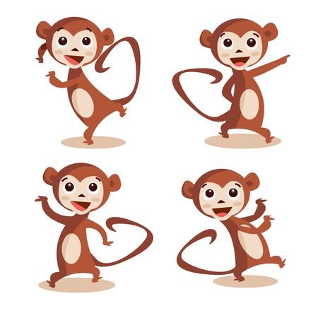 monkeys: Cute dancing monkey  Illustration