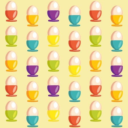 Background with cartoon egg cups  Vector