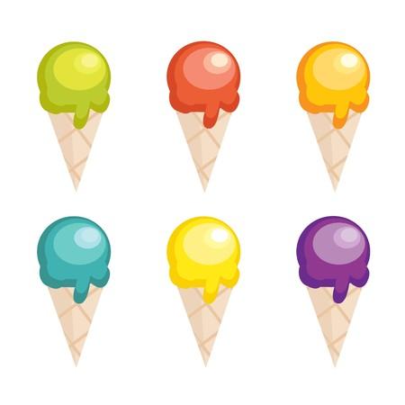 helado caricatura: Colecci�n de dibujos animados ice cream  Vectores