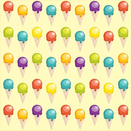 Background with cartoon ice cream cups  Vector