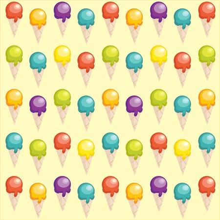 helado caricatura: Fondo con copas de helado de dibujos animados  Vectores
