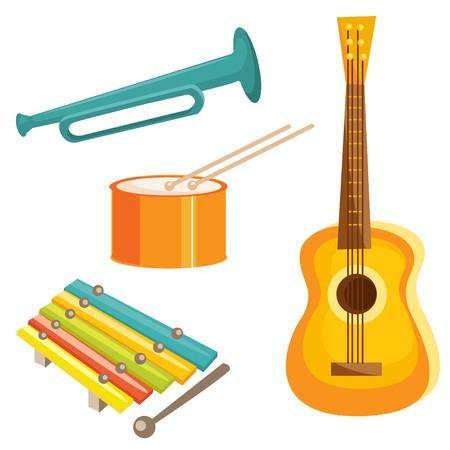 Instrumentos musicales de dibujos animados  Ilustración de vector
