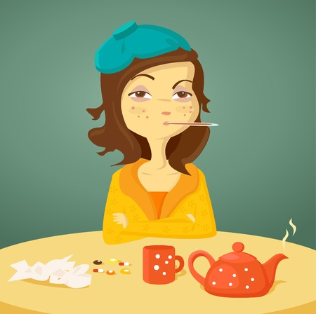 malady: Cartoon girl with illness,  illustration Illustration