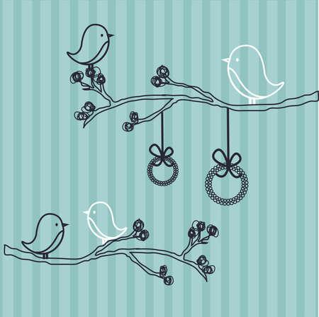cute wallpaper: Cute fondo con ilustraci�n de las aves  Vectores