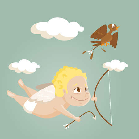 Cute cartoon cupid,  illustration Stock Vector - 7346199