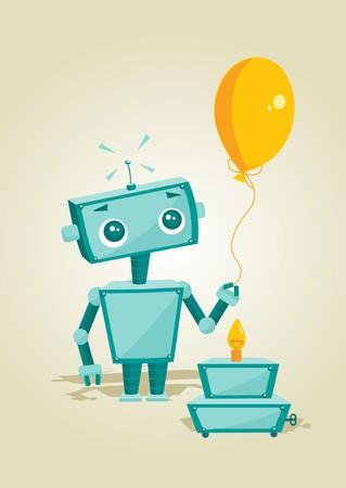 controlling: Cartoon robot with birthday cake  illustration