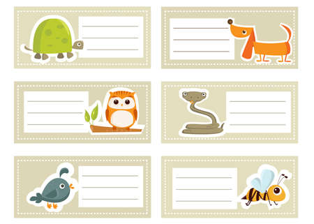 Back to school stickers with cute  animals, illustration Vector