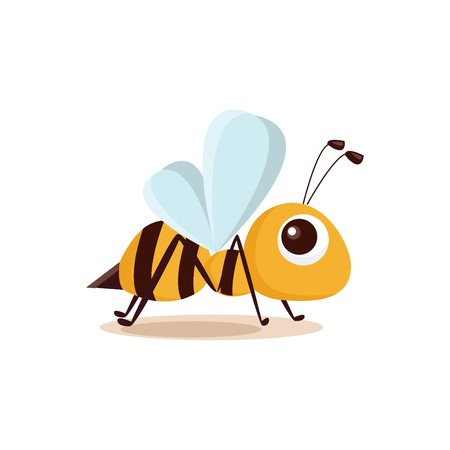 Illustration of isolated cartoon bee on white background Stock Vector - 7740749