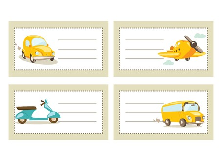 back icon: Back to school stickers with vehicles,  illustration