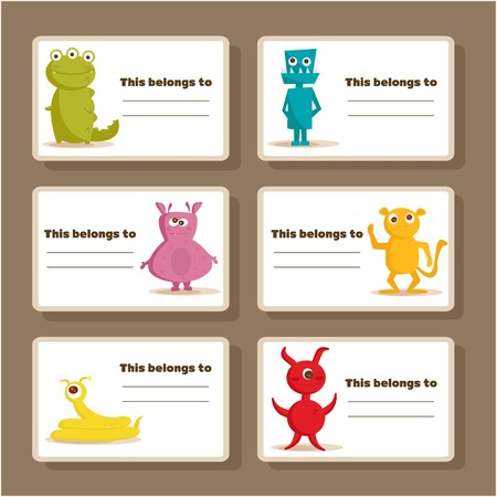 elementary: Back to school stickers with cute  monsters, illustration