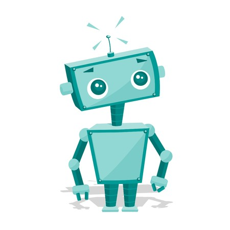 funny robot: Cute cartoon robot, illustration