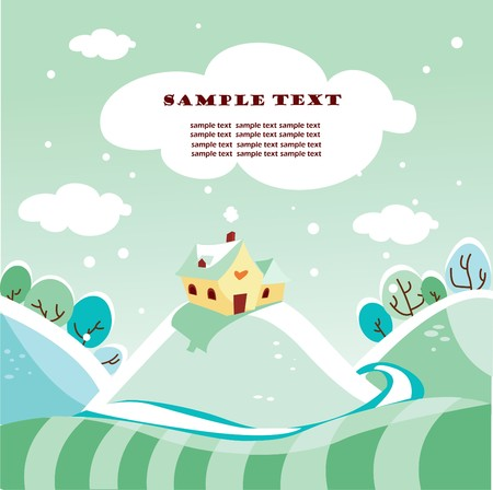 Cute winter landscape,  illustration Vector