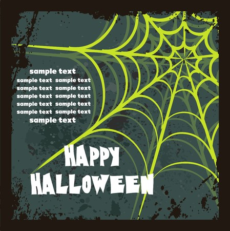 spider web: Halloween background with spiders web, vector illustration