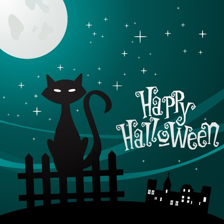 illustration of a cat in the moonlight  Vector