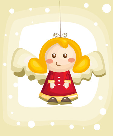 guardian angel: Cute cartoon angel isolated, vector illustration