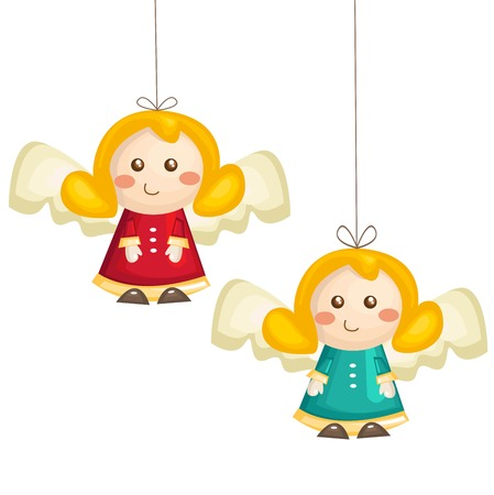 guardian angel: Cute cartoon angels isolated, vector illustration