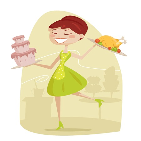 stereotypical housewife: Happy housewife, vector illustration