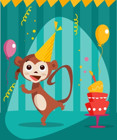 Dancing monkey birthday card, vector illustration Vector