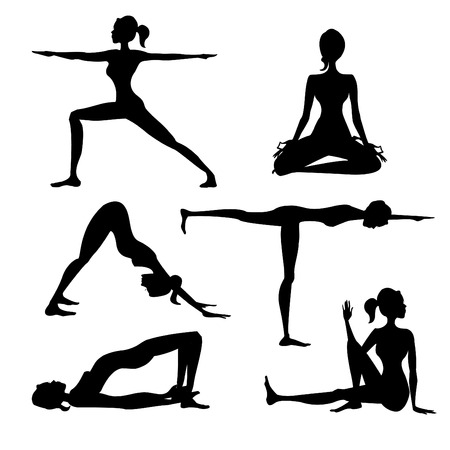 Yoga silhouette isolated , vector illustration Vector