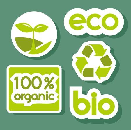 Green stickers, vector illustration Stock Vector - 8192164