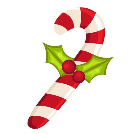 canes: Canna di caramella di Natale con il vischio isolato, illustrazione vettoriale.  Vettoriali