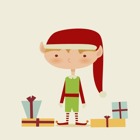 Cute retro Christmas elf, vector illustration Vector