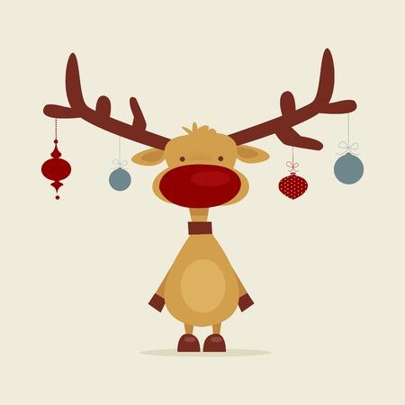renos de navidad: Dibujos animados retro renos, ilustración vectorial