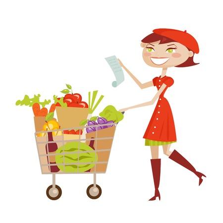 supermarket shopper: Shopping woman isolated, vector illustration