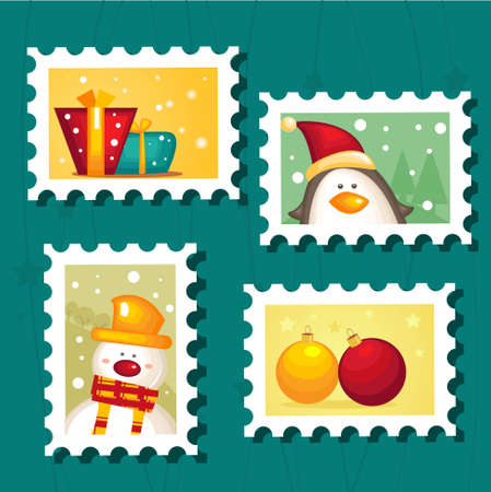 Set of Christmas Postage stamps Vector