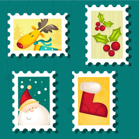 Set of Christmas Postage stamps Stock Vector - 8310580